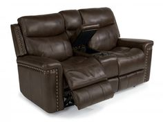 Grover Leather Power Reclining Loveseat with Console by #Flexsteel via Flexsteel.com