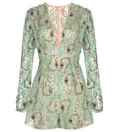 Alessandra Rich - Embellished lace playsuit - The green lace design has a nude-hued lining and is embellished with dazzling sequins and crystals for a barely-there look with a shimmering finish. - @ www.mytheresa.com