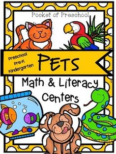 Pets Math and Literacy Centers for Preschool, Pre-K, and Kindergarten Math and Literacy Pet Themed Centers perfect for preschool, pre-k and kindergarten. Pocket of Preschool Math Literacy, Literacy Centers, Kindergarten Centers, Kindergarten Worksheets, Preschool Class, Preschool Themes, Animals And Pets, Cute Animals, Funny Animals