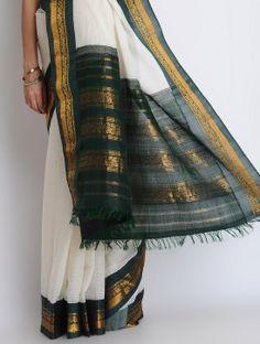 White-Green Silk Zari Handwoven Gadwal Saree Chiffon Saree, Green Silk, Sarees Online, Tie Dye Skirt, Hand Weaving, Cover Up, Skirts, Stuff To Buy, Dreams