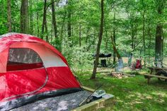 Tent pitched at our Smoky Mountain campground.