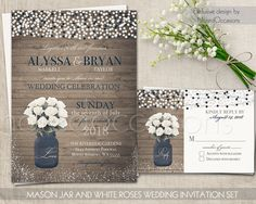 Rustic Printable Wedding Invitation Mason Jar Wedding Invite Navy blue Country Barn Wedding Invite Summer Wedding, String Lights White Roses