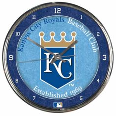 "Kansas City Royals MLB WinCraft Chrome Plated Retro Clock (12"")"