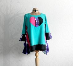 Womens, boho, plus size, colorful, lagenlook, recycled tunic top in size XL - 1X. One-Of-A-Kind, Eco-Friendly, Handmade Clothing for women in