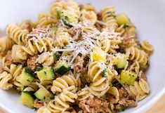 Pasta with Summer Squash, Spicy Sausage, and Goat Cheese... very easy recipe