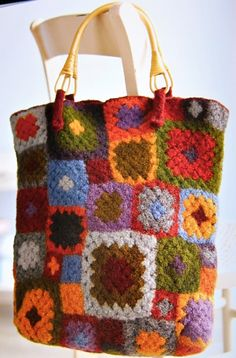"From the book ""Gifted: Lovely Things to Knit and Crochet"".   #crocheted, #bags"