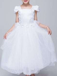 $19.61 Sweet Square Neck Cap Sleeve Pure Color Ball Gown Dress For Girl
