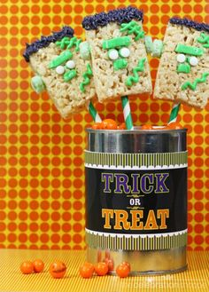 Friendly Frankenstein Rice Krispies Treats!