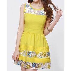 Elegant Jewel Neck Sleeveless Embroidered Dress For Women, YELLOW, XL in Dresses 2014   DressLily.com