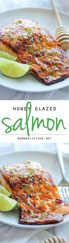 Honey Glazed Salmon - The easiest, most flavorful salmon you will ever make. And that browned butter lime sauce is to die for!  Pinterest | https://pinterest.com/elcocinillas/