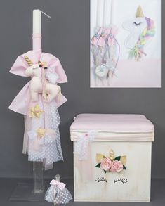 Unicorn greek baptism candle set Christening accessories decorations Shipping included ♥ OPTIONS A. 1 priest hand towel, 3 undergarments) set small candles, 1 bottle, 1 soap) B. Baptism Candle, Godparent Gifts, Baby Girl Christening, Small Candles, Party Decoration, Candle Set, Wedding Sets, Keepsake Boxes, Unique Gifts
