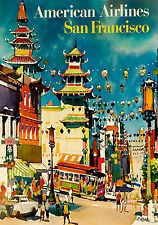 MAGNET Travel Poster Photo Magnet SAN FRANCISCO Chinatown American Airlines