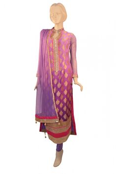 Latest Magnificent Brocade Silk Straight Cut top with nice stone work also comes with a Lavender net Churidar and Dupatta
