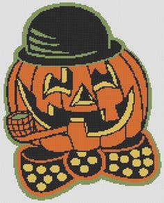 Pumpkin In HAT HALLOWEEN PDF Cross Stitch by RetroLOOMINOTIONS, £2.50