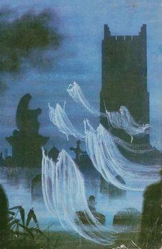 Philip Gough, cover illustration for the book Ghosts, Spooks, and Spectres 1967 Arte Horror, Horror Art, Dark Fantasy Art, Dark Art, Halloween Art, Vintage Halloween, Halloween Pictures, Spooky Scary, Creepy