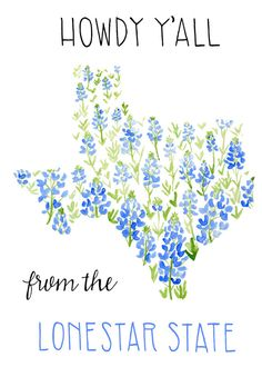 Texas Card- Lonestar State Card- State of Texas Card- Blue Bonnet Card- Howdy Y'All Card- Watercolor Card Texas Tattoos, Texas Gifts, Jw Gifts, Texas Bluebonnets, Lone Star State, Watercolor Cards, Watercolor Flowers, Watercolor Paintings, Blue Bonnets