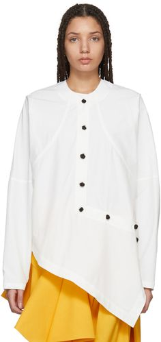 JW Anderson - White Asymmetric Knot Button Shirt