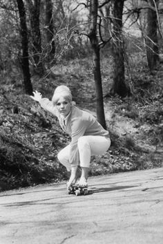 "Patti McGee, the ""National Girls' Champion"" of skateboarding in 1965."