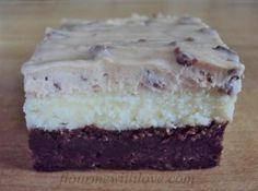 Triple Layer Bars...first a layer of fudgy brownie, then cheesecake and to top it off, cookie dough frosting! Flour Me With Love  dough  cheese
