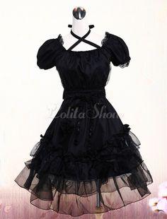 Pure Black Lolita One-piece Dress Short Sleeves Lace Trim Neck Straps…