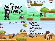 Number Ninja! Find missing numbers to math problems. There are even harder levels for advanced students using integers and basic algebra. RoomRecess.com