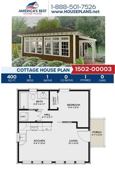 Guest House Plans, Small House Floor Plans, Cottage House Plans, Cottage Homes, 1 Bedroom House Plans, Little House Plans, Tiny Cottage Floor Plans, Tiny House Cabin, Tiny House Living