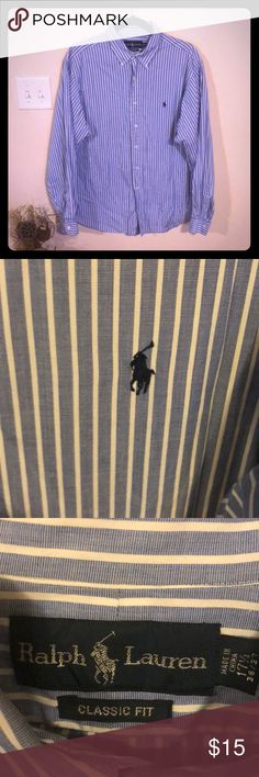 Button Down Shirt 👔 Pinstripe blue and white Polo (Ralph Lauren) button Down shirt, classic fit 171/2 36/37 EUC. Polo by Ralph Lauren Shirts Dress Shirts
