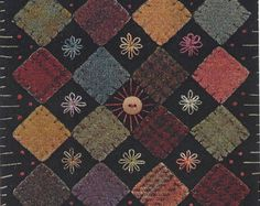 Primitive Wool Applique Kits   SALE - Primitive Folk Art Wool Applique Pattern: BLOCK GARDEN