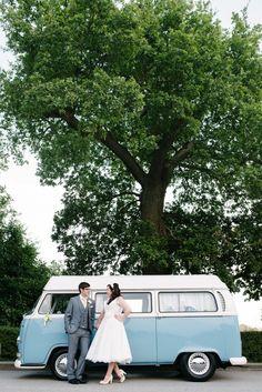 VW Van with bride and Groom Wedding photographer Derby Nottingham Midlands simondewey.co.uk Morley Hayes