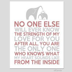 """Wall Art Print Nursery Room Decor No One Else Will Ever Know Text Quote Mother Child Baby Love Elephant Pastel Red Gray White ofcarola 8x10""""..."""