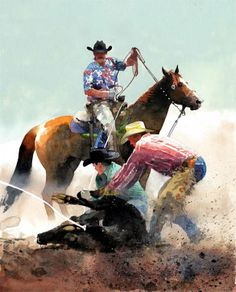"""Bovine Tussle"" Watercolor Painting (calf roping) by artist and painter Don Weller"