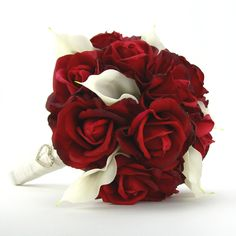 Bridal Bouquet Red Roses White Calla Lilies Real Touch Silk Wedding Flowers Valentines Day. $120.00, via Etsy.