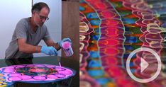 Video on Chicago-based artist Bruce Riley who fills canvases with abstract organic forms made from layer after layer of dripped paint and poured resin. While looking at images of his work online, it's difficult to grasp the depth and scale of each piece which can be penetrated by light from multip