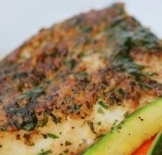 Lemon and Herb Crusted Halibut. I used dried dill (pampered chef all purpose dill mix) & didn't have parsley on hand.still turned out delicious! Halibut Recipes, Fish Recipes, Seafood Recipes, Paleo Recipes, Dinner Recipes, Cooking Recipes, Great Recipes, Recipies, Fish Dishes