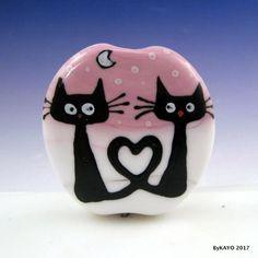 """BE MY BESTIE"" byKAYO a Handmade LOVE MY CATS Lampwork Art Glass Focal Bead SRA #Lampwork"