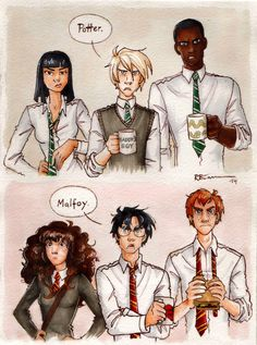 Silver Trio vs. Golden Trio by CaptBexx on deviantART. Ahahaha, Draco's coffee mug!!