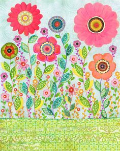 Floral Print Large Flower Art Print Mixed Media Floral by Sascalia
