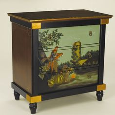 3 Drawer Chest with Painted Parrot Scene