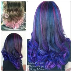 Before and after Galaxy mermaid hair done by Dacia Metsker