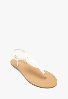 Faux Leather T-Strap Sandals | FOREVER21 - 2000098750 (I need these in nude and brown)