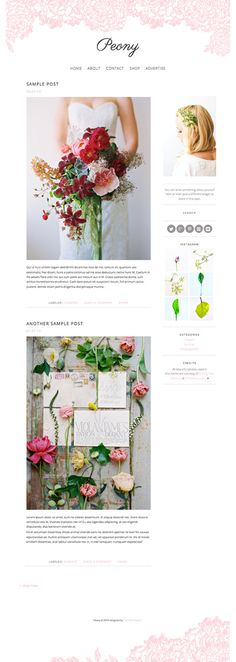 This listing is for a 2-column responsive minimalist wordpress theme perfect for everyday bloggers, mom bloggers, event planners, florists,