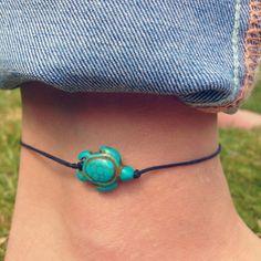 Boho Turquoise Gemstone Turtle Anklet by GemsJewelleryBox on Etsy