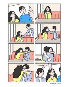 Cute Couple Comics, Couples Comics, Cute Couple Art, Cute Comics, Anime Couples, Cute Couples, Love Illustration, Character Illustration, Sundae Kids