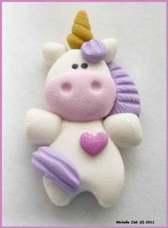 Polymer Clay Bead or Bow Center Unicorn