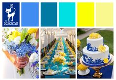Blue & Yellow wedding Inspiration Colour Board by Designcat (Royal, Turquoise, Teal, Tiffany)