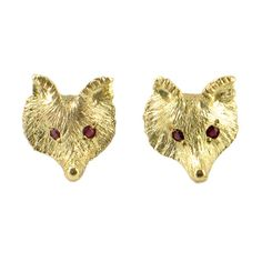 Adorable 18K Gold Fox Earrings with Ruby Eyes • High Quality Fox Face Stud Earrings •  Foxy 18K Gold and Ruby Earrings by EncoreJewelryandGems on Etsy