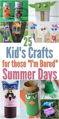 25 fun and easy craft ideas for kids during the summer to keep them entertained. Simple and cheap, these activities will keep your children busy and happy as they get creative!