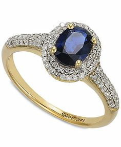 14k White Gold Sapphire (1 ct. t.w.) and Diamond (1/3 ct. t.w.) Oval Ring