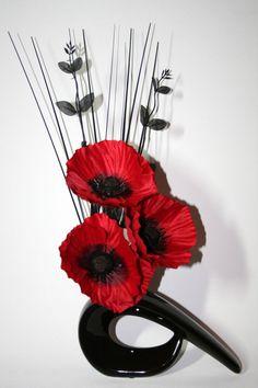 Artificial Silk Flower Arrangement Red Poppies in Small Black Modern Vase.