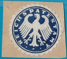 + Early Era Embossed Eagle Reichs Patent Office Germany Label Seal used